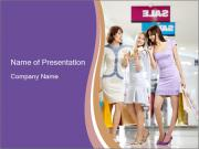 Three Attractive Ladies Shopping PowerPoint Templates