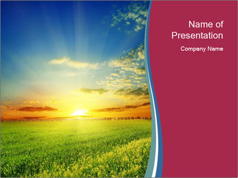 Green Meadow on Sunset PowerPoint Template