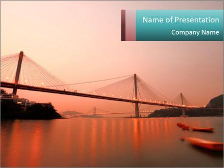 Bridge In Hong Kong Powerpoint Template Backgrounds Google Slides