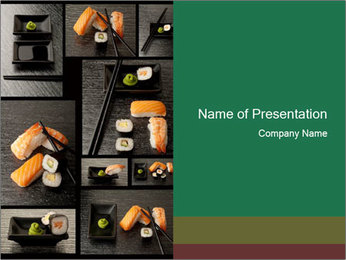 Eat Sushi in Restaurant PowerPoint Template