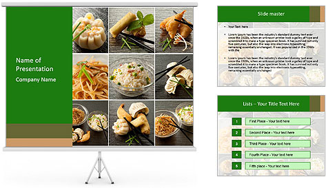 Collage of chinese food powerpoint template backgrounds for Asian cuisine ppt