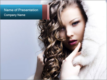 Lady in White Fur Coat PowerPoint Template