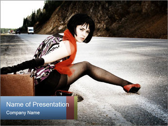 Adventures Woman Sitting on the Road PowerPoint Template