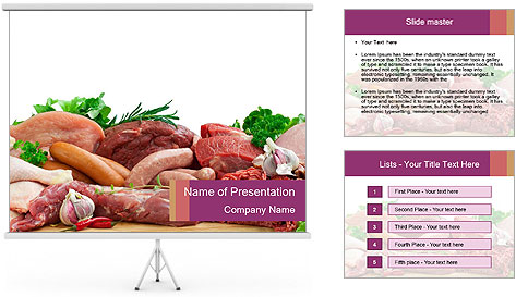 Meat at Supermarket PowerPoint Template Backgrounds ID – Powerpoint Flyer Template