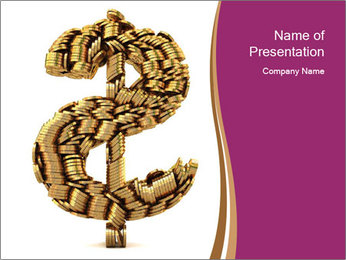 Dollar Sign Made of Coins PowerPoint Template