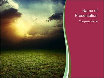 Sinlight in Meadow PowerPoint Template