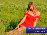 Woman Sitting on Meadow PowerPoint Templates