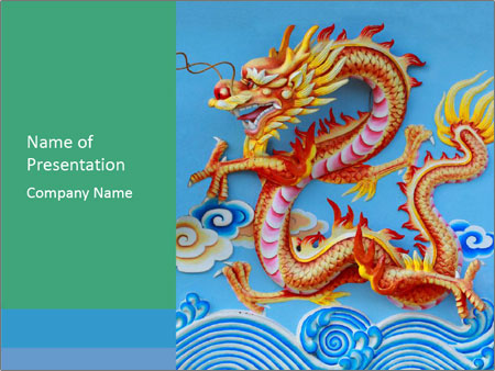 chinese dragon wall painting powerpoint template & backgrounds id, Powerpoint templates