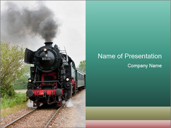 Black Old Train PowerPoint Template
