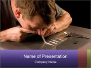 Addicted Man with Cocaine Sjablonen PowerPoint presentatie