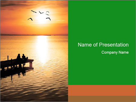 Romantic Couple On Pier Powerpoint Template Backgrounds Google