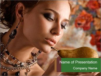 Rich Woman with Pear Modèles des présentations  PowerPoint