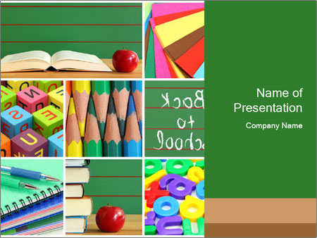 elementary school collage powerpoint template & backgrounds id, Modern powerpoint