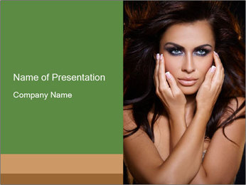 Portrait of Seducing Woman PowerPoint Template