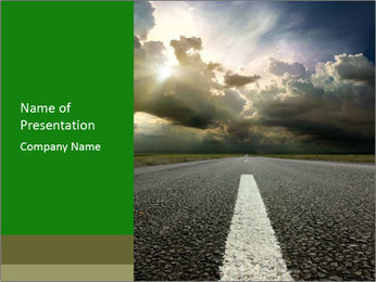 Straight Asphalt Road PowerPoint Template
