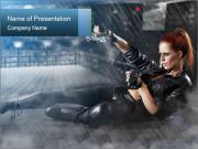 Super Woman in Leather Costume PowerPoint Templates