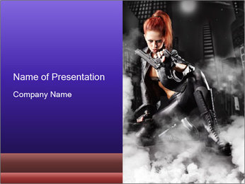 Sexy Black Leather Costume PowerPoint Template