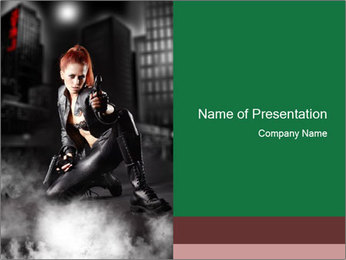 Woman in Black Leather Costume PowerPoint Template