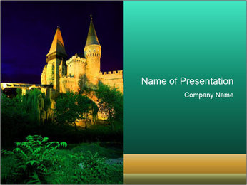 Historic Castle at Night PowerPoint Template