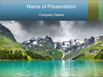 Lake in Snowy Mountains PowerPoint Template