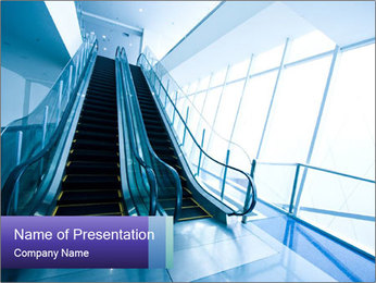 Escalator in Business Center PowerPoint Template