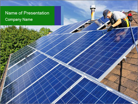 solar panel on the rooftop powerpoint template & backgrounds id, Presentation templates