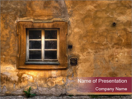 old house with small window powerpoint template & backgrounds id, Modern powerpoint