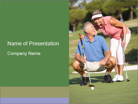 Retired Couple Playing Golf Powerpoint Template Backgrounds Id