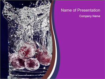 Red Cherries in Water Glass PowerPoint Template