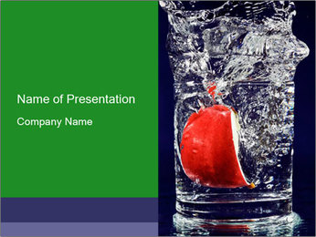 Slice of Apple in Glass of Water PowerPoint Template