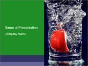 Slice of Apple in Glass of Water PowerPoint Templates