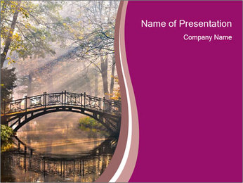 Bridge in the Autumn Forest PowerPoint Template