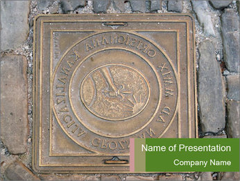 Street in Croatia with Cover Sewer Manhole PowerPoint Template