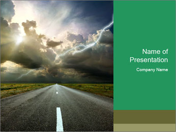 Riding Empty Road PowerPoint Template