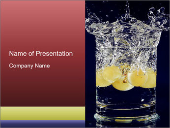 White Grapes in Glass of Water PowerPoint Template