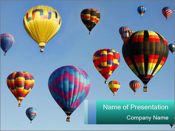 Many Air Balloons in the Sky PowerPoint Template