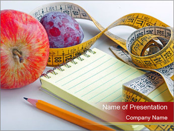 Notebook and Fresh Fruits PowerPoint Template