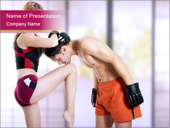 Couple Kickboxing PowerPoint Template