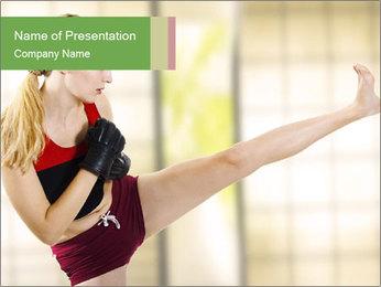 Woman Kickboxing PowerPoint Template