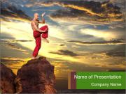 Karate modelos de apresentaes powerpoint smiletemplates man demonstrating martial arts on the rock modelos de apresentaes powerpoint toneelgroepblik Images
