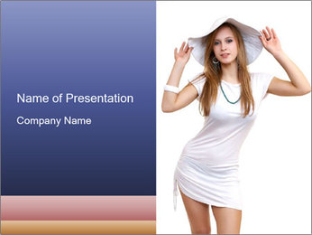 Young Lady in White Dress and Hat PowerPoint Template