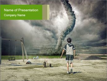 Small Boy and Hurricane PowerPoint Template