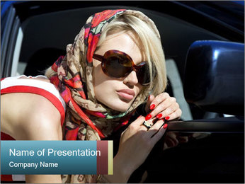 Glamour Lady in Luxury Car PowerPoint Template