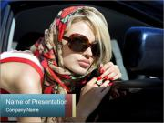 Glamour Lady in Luxury Car PowerPoint Templates