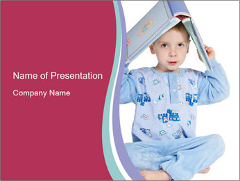 Small Boy in Blue Pajama PowerPoint Template
