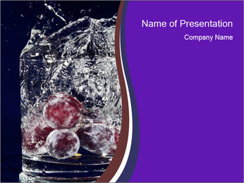 Grapes in Glass of Water PowerPoint Template