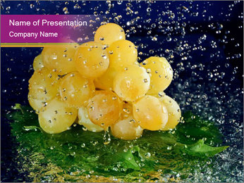 White Grapes in Water Drops PowerPoint Template