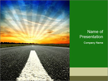 Driving Along Empty Road PowerPoint Template