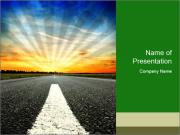 Driving Along Empty Road PowerPoint Templates