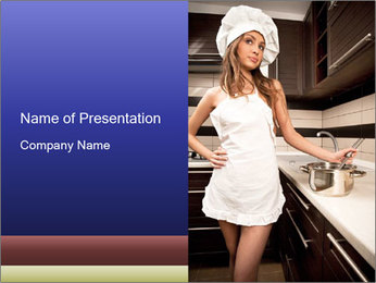 Young Wife in the Kitchen PowerPoint Template